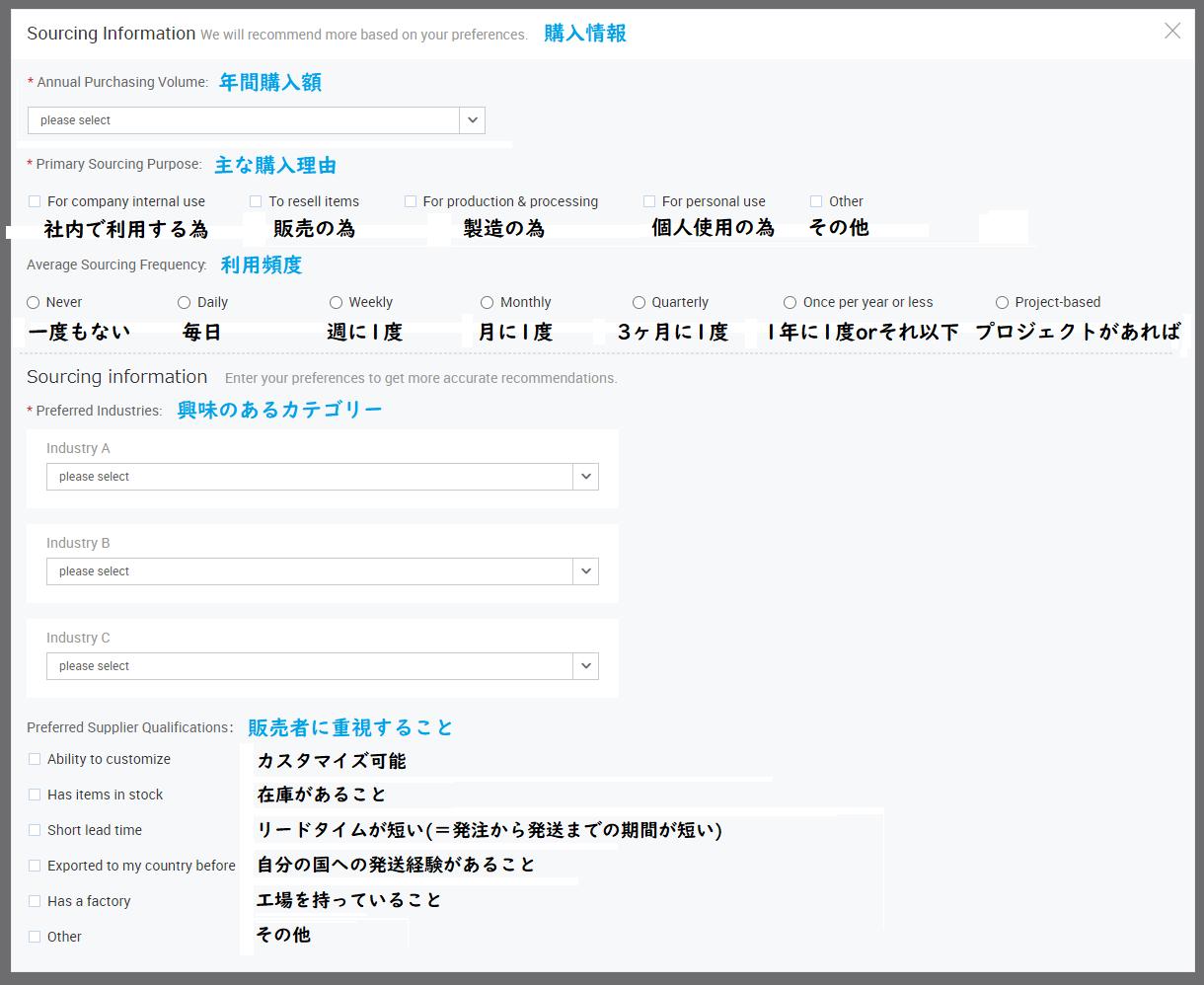 Alibaba.com 購入情報 プロフィール
